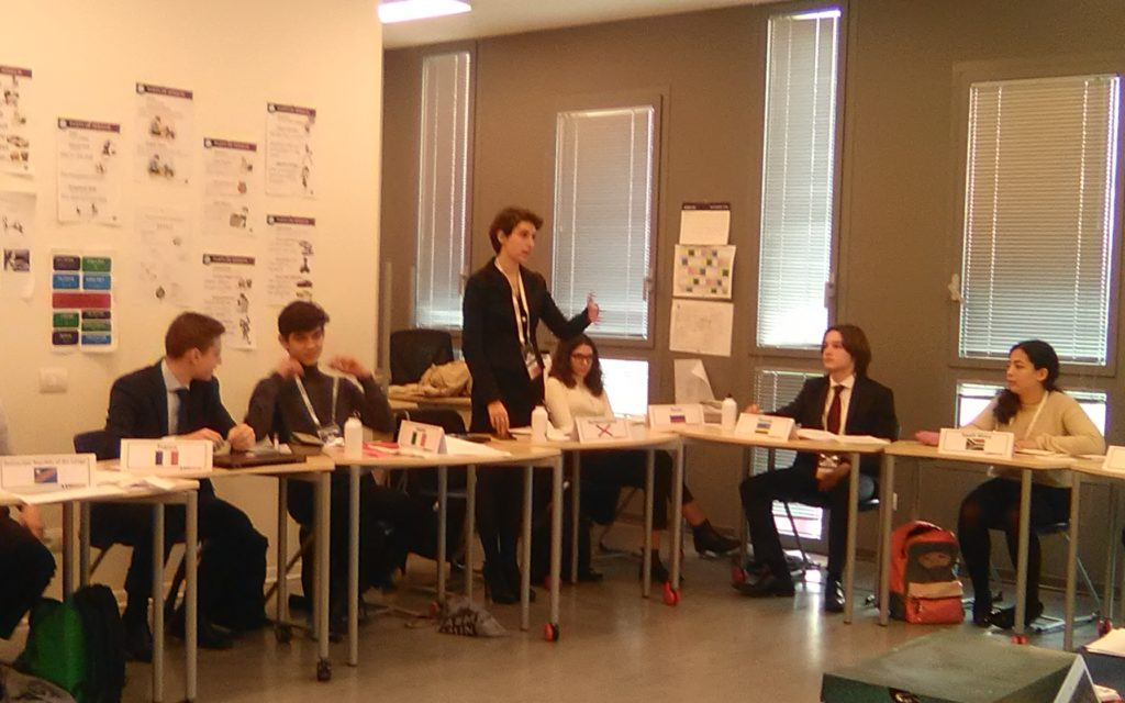 Manzoni's Claudia Catalini debating in ASMMUN's Historical Security Council